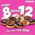 Promo Dunkin Donuts de paga 8 y lleva 12 donuts