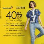 Promo Bancolombia de 40% de descuento en toda la tienda American Eagle y Esprit