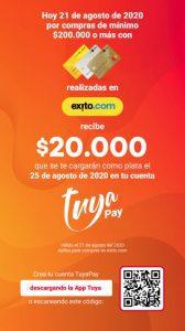 Promoción Éxito Tuya Pay: $20.000 de regalo en compras de $200.000 este 21 de agosto