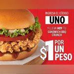 Código KFC de sándwich BBQ Crunch por $1 peso